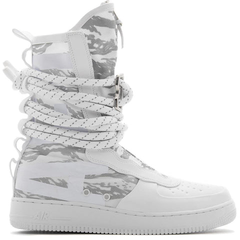 Style code AA1130-100. NIKE SF AIR FORCE 1 HI WINTER BOOT / WHITE