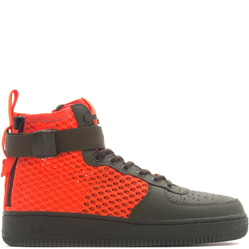 style code AA7345-300. NIKE SF AF1 MID QS CARGO KHAKI / TOTAL CRIMSON