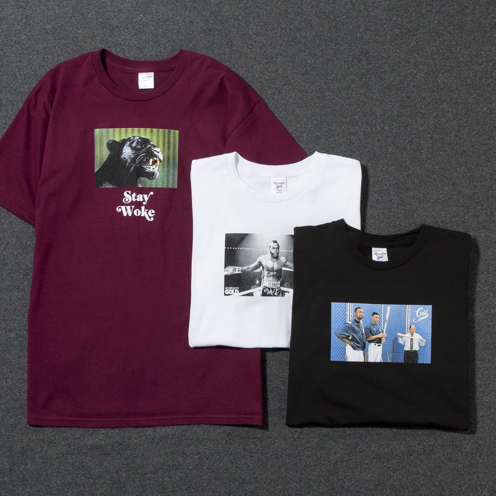 ACAPULCO GOLD STAY WOKE T-SHIRT / BURGUNDY