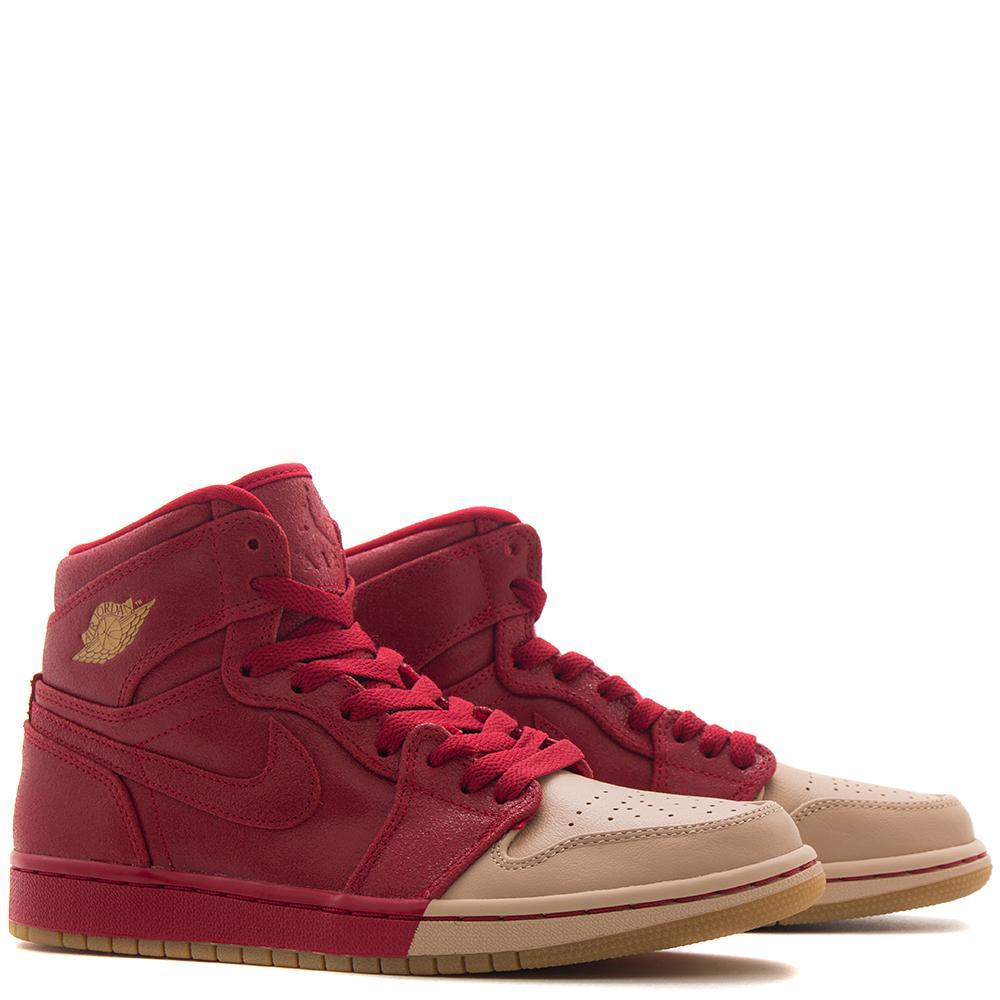 JORDAN WOMEN'S 1 RETRO HI PREMIUM GYM RED / METALLIC GOLD