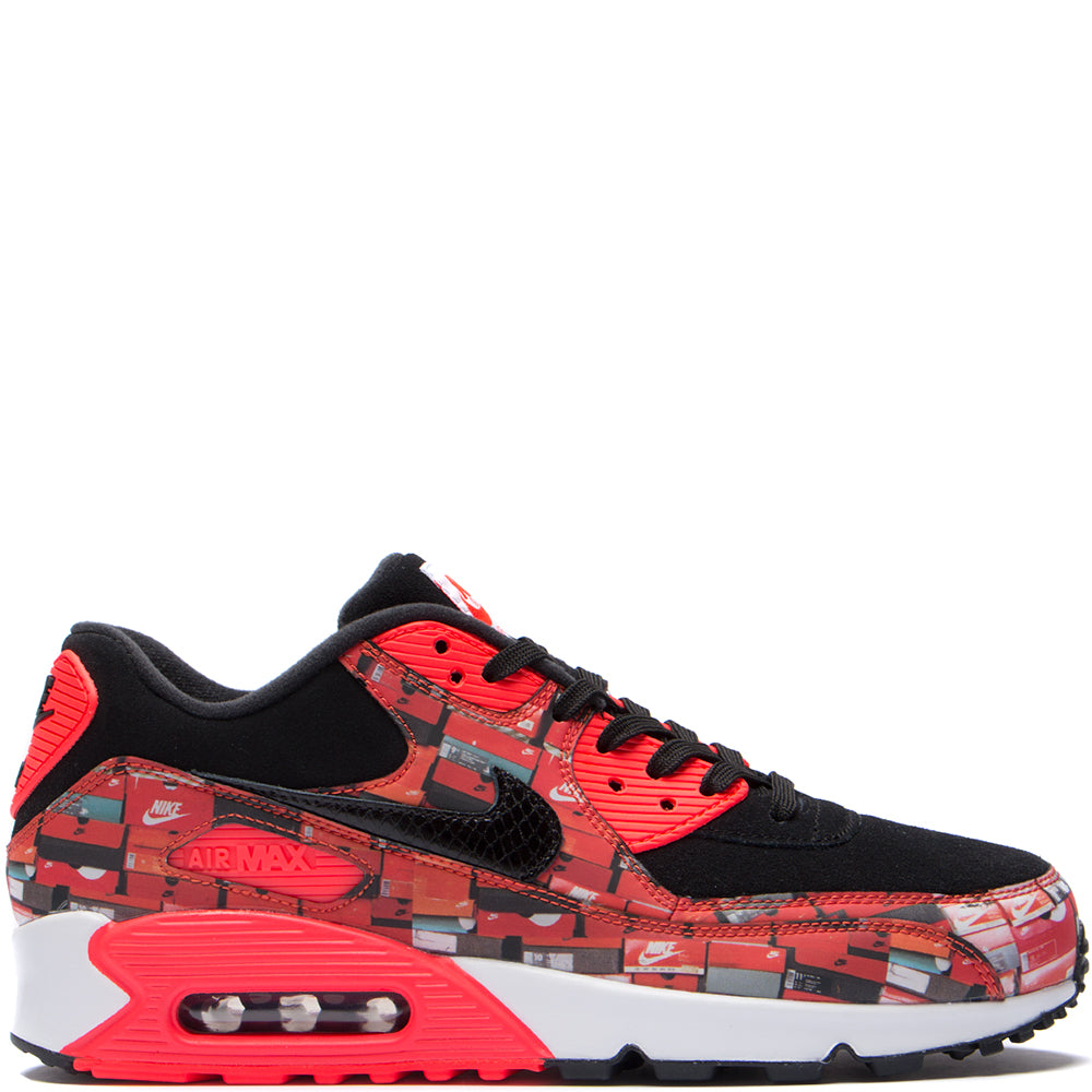 Style code AQ0926-001. Nike x Atmos Air Max 90 Print Box Pack QS Black / Bright Crimson