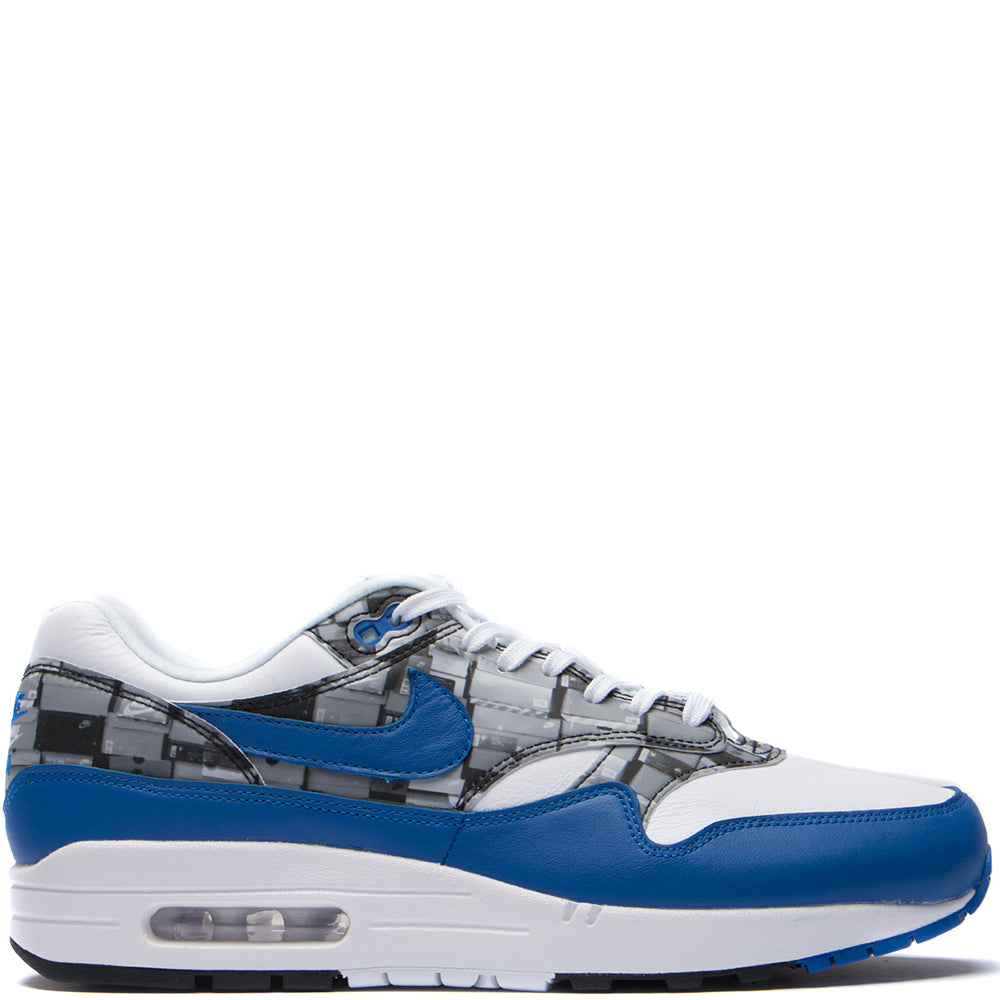 Style code AQ0927-100. Nike x Atmos Air Max 1 Print Box Pack QS White / Game Royal
