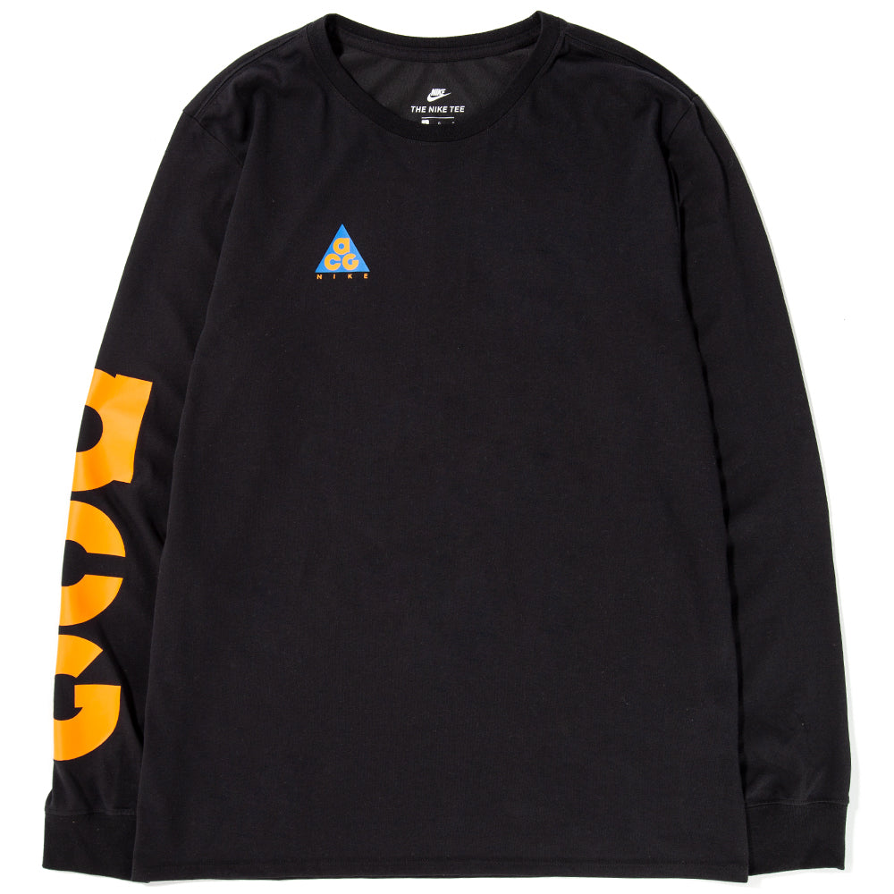 Style code AQ3953-010. Nike ACG Long Sleeve T-shirt Black / Bright Mandarin
