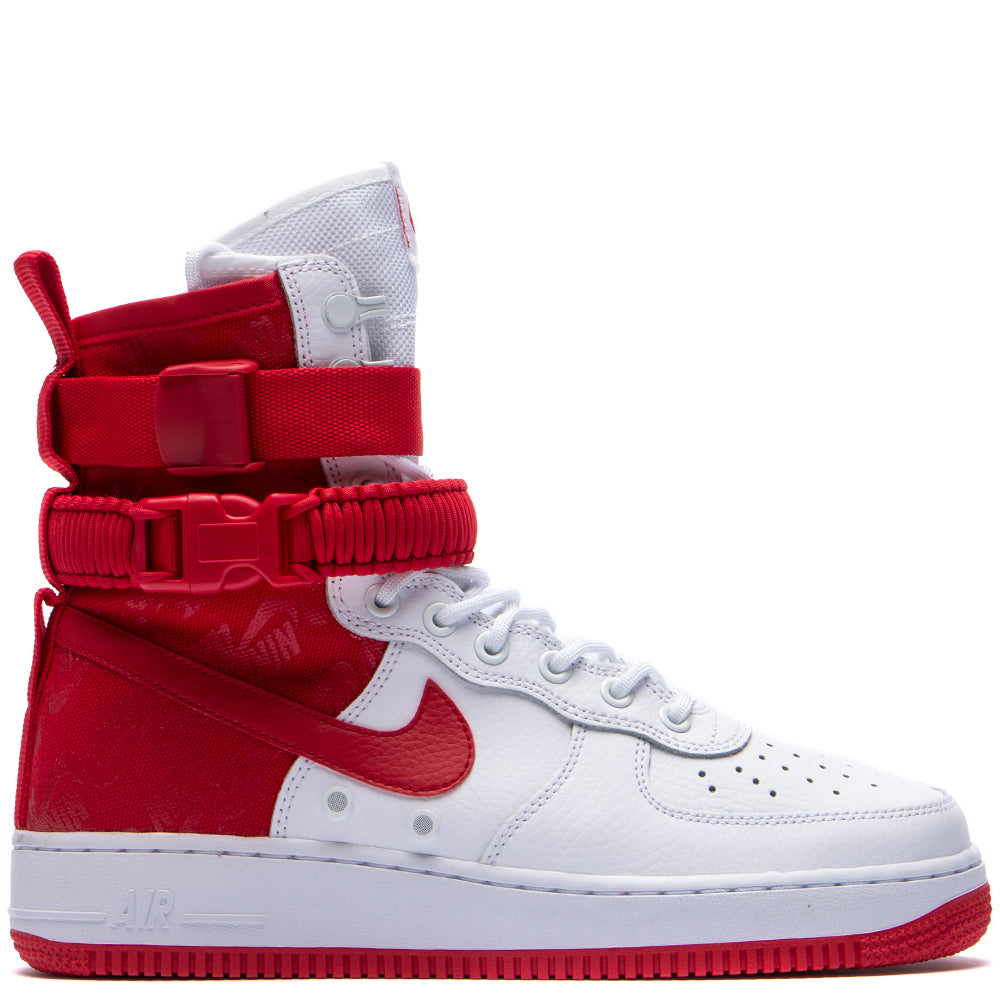 Style code AR1955-100. Nike SF AF1 White / University Red