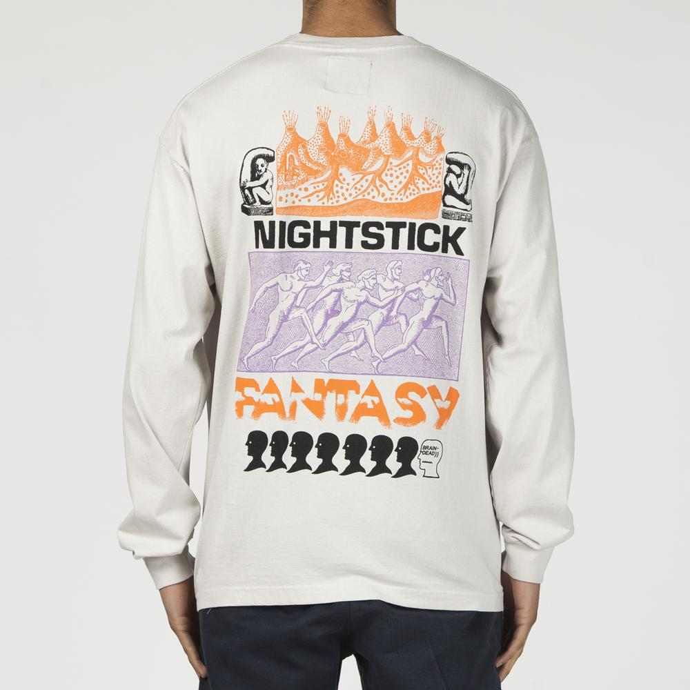 BRAIN DEAD NIGHTSTICK FANTASY LONG SLEEVE T-SHIRT / OFF WHITE