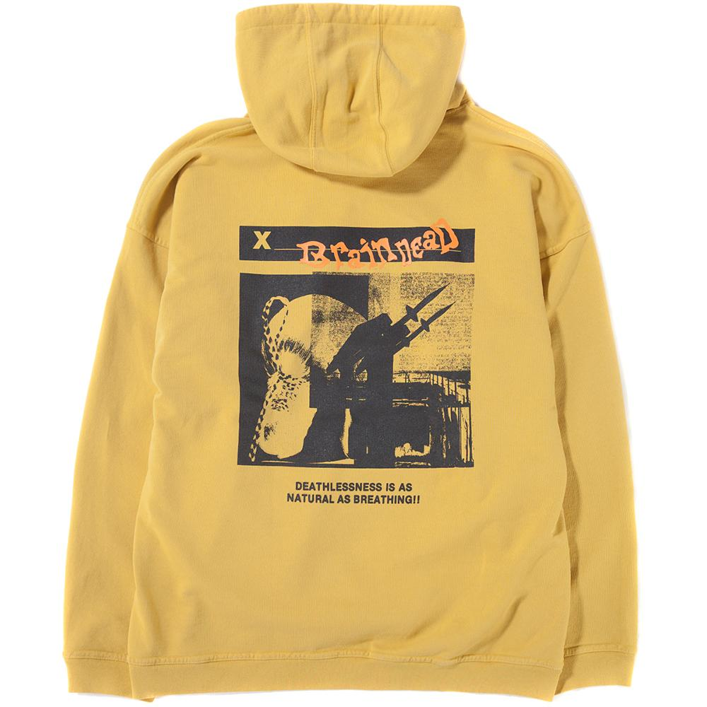 Style code BDD806. BRAIN DEAD MISSILE COMMAND REVERSE WEAVE PULLOVER HOODIE / MUSTARD