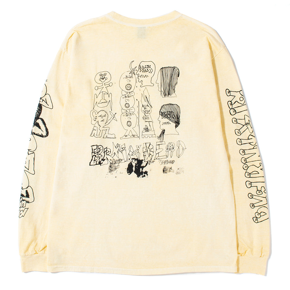 Brain Dead Leon's Girls Long Sleeve T-shirt / Washed Yellow - Deadstock.ca