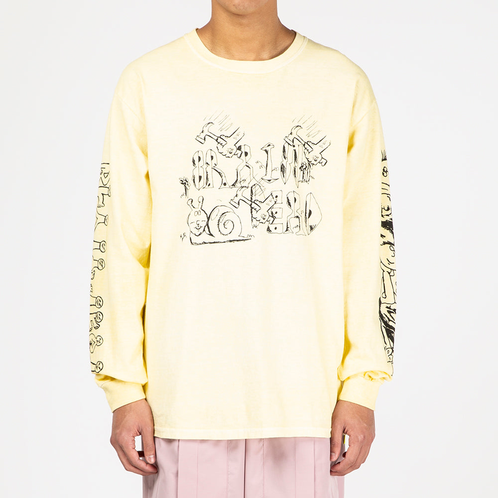 Brain Dead Leon's Girls Long Sleeve T-shirt / Washed Yellow