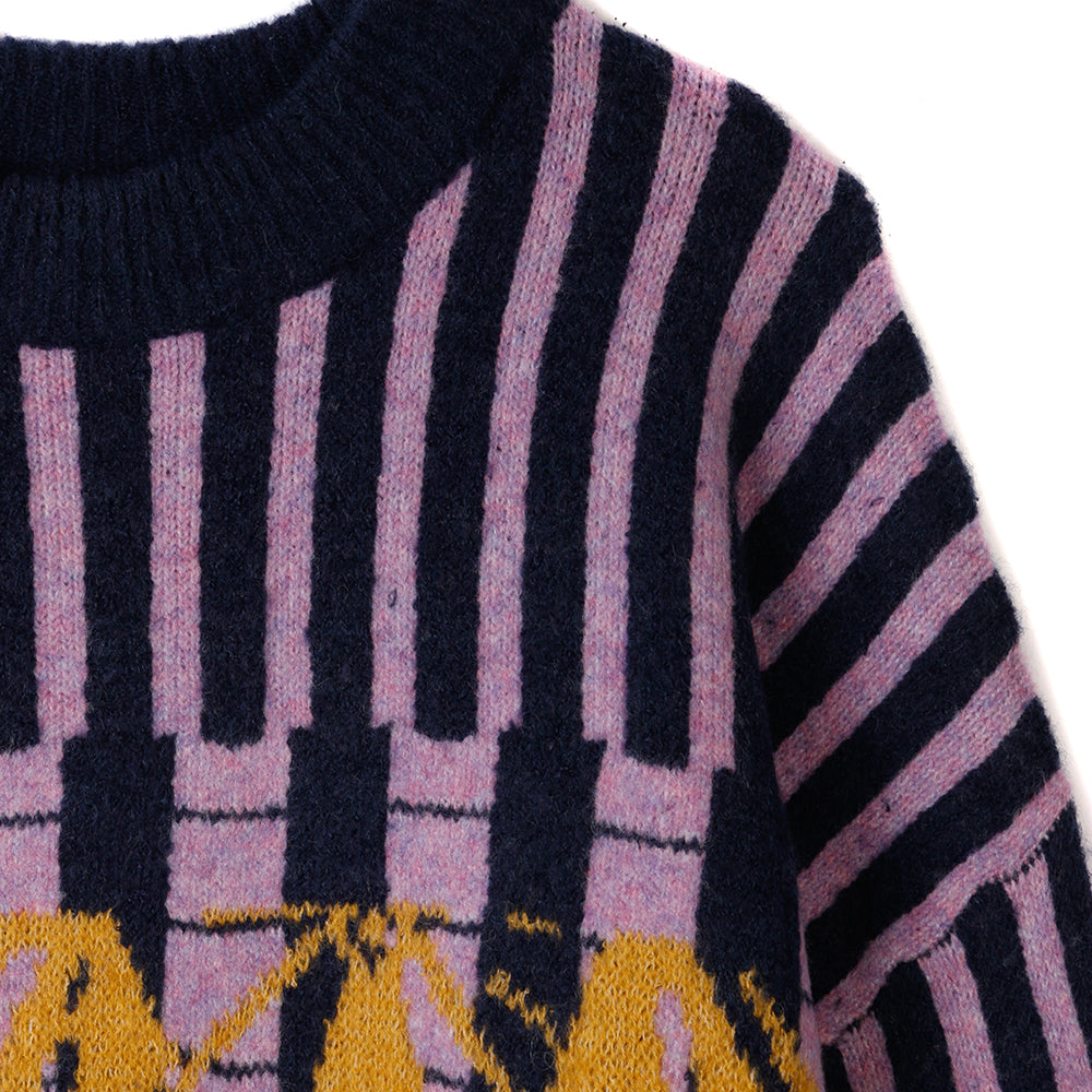 Brain Dead Varied Stripe Mock Neck Sweater / Multi