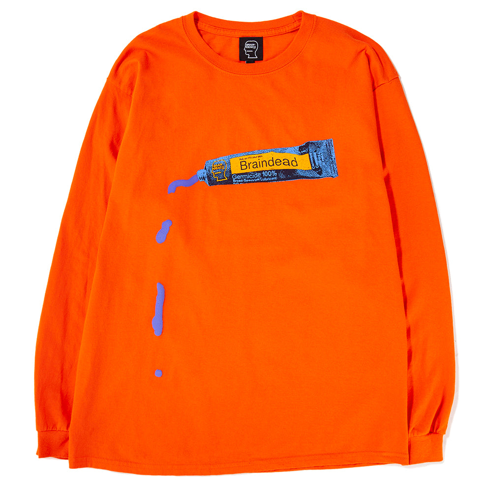 Style code BDFA1809. Brain Dead Ooze Long Sleeve T-shirt / Emergency Orange