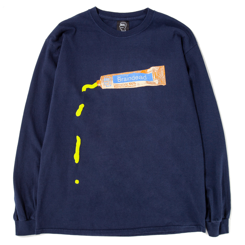 Style code BDFA1810. Brain Dead Ooze Long Sleeve T-shirt / Navy