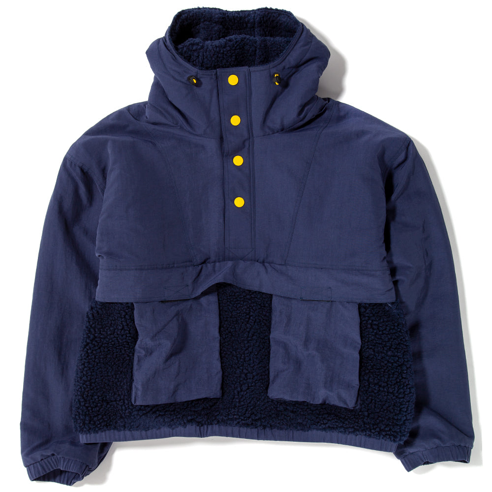 Style code BDHO1802. Brain Dead Pullover Sherpa Anorak Navy / Black
