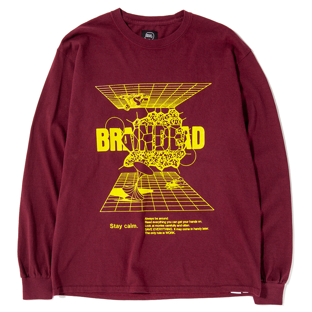 Style code BDHO1806. Brain Dead Orbit Long Sleeve T-shirt / Burgundy