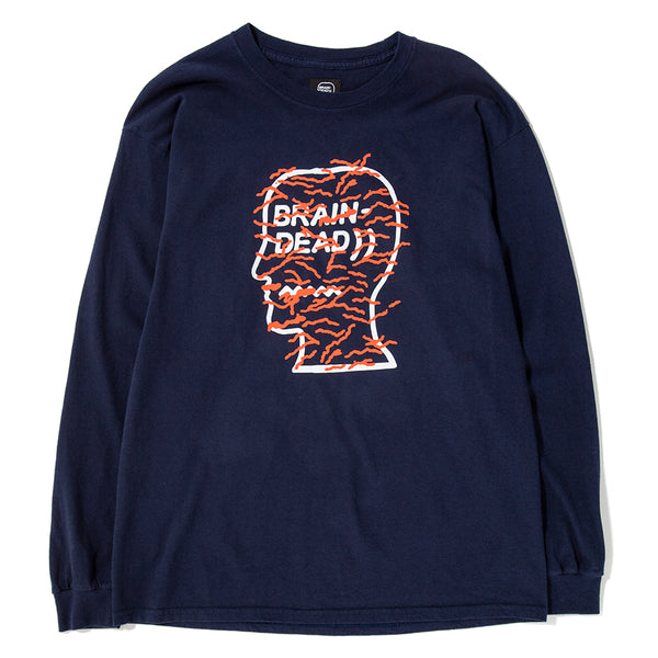 Style code BDHO1808. Brain Dead Infected Logo Long Sleeve T-shirt / Navy
