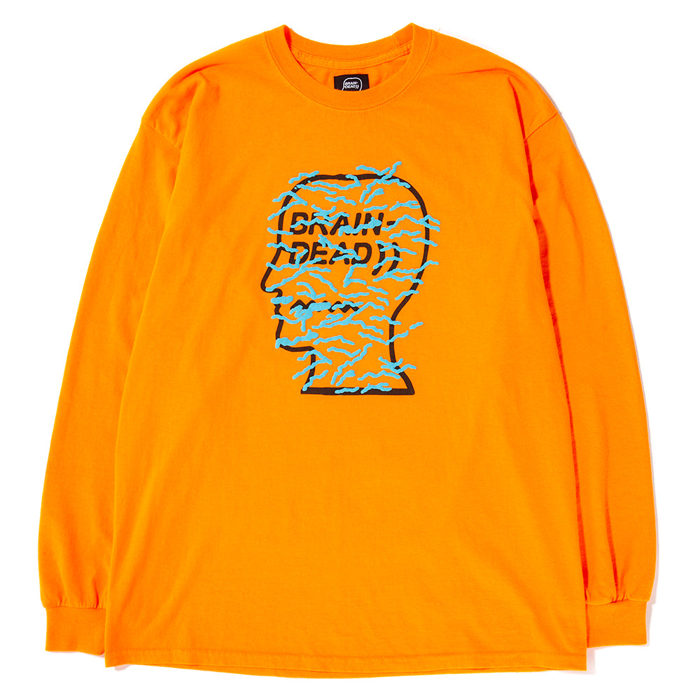 Style code BDHO1809. Brain Dead Infected Logo Long Sleeve T-shirt / Emergency Orange