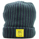Style code BDHO1813. Brain Dead Logo Patch Beanie Navy / Forest