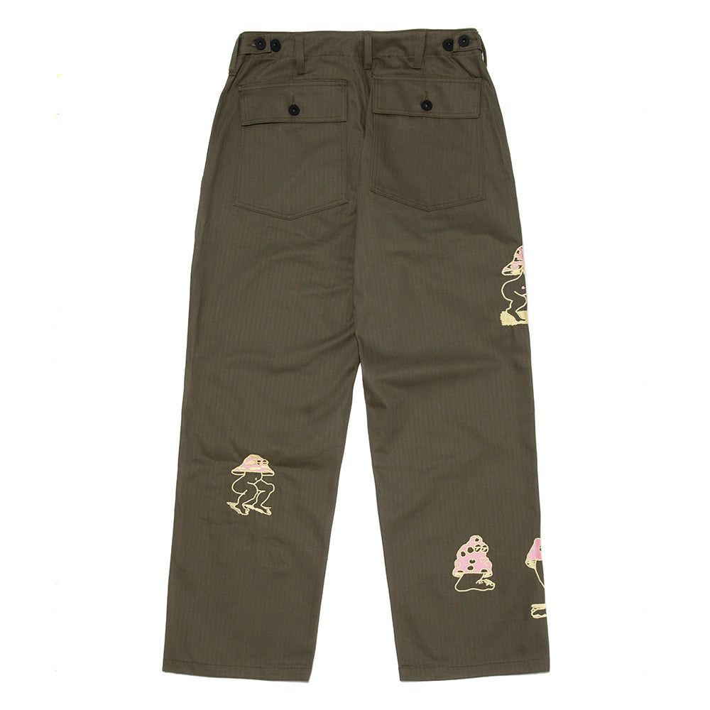 Brain Dead Mushroom Embroidered Herringbone Military Pant / Olive Drab