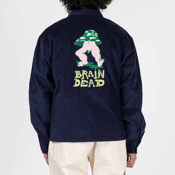 Brain Dead Mushroom Embroidered Full Zip Corduroy Shirt Jacket / Navy
