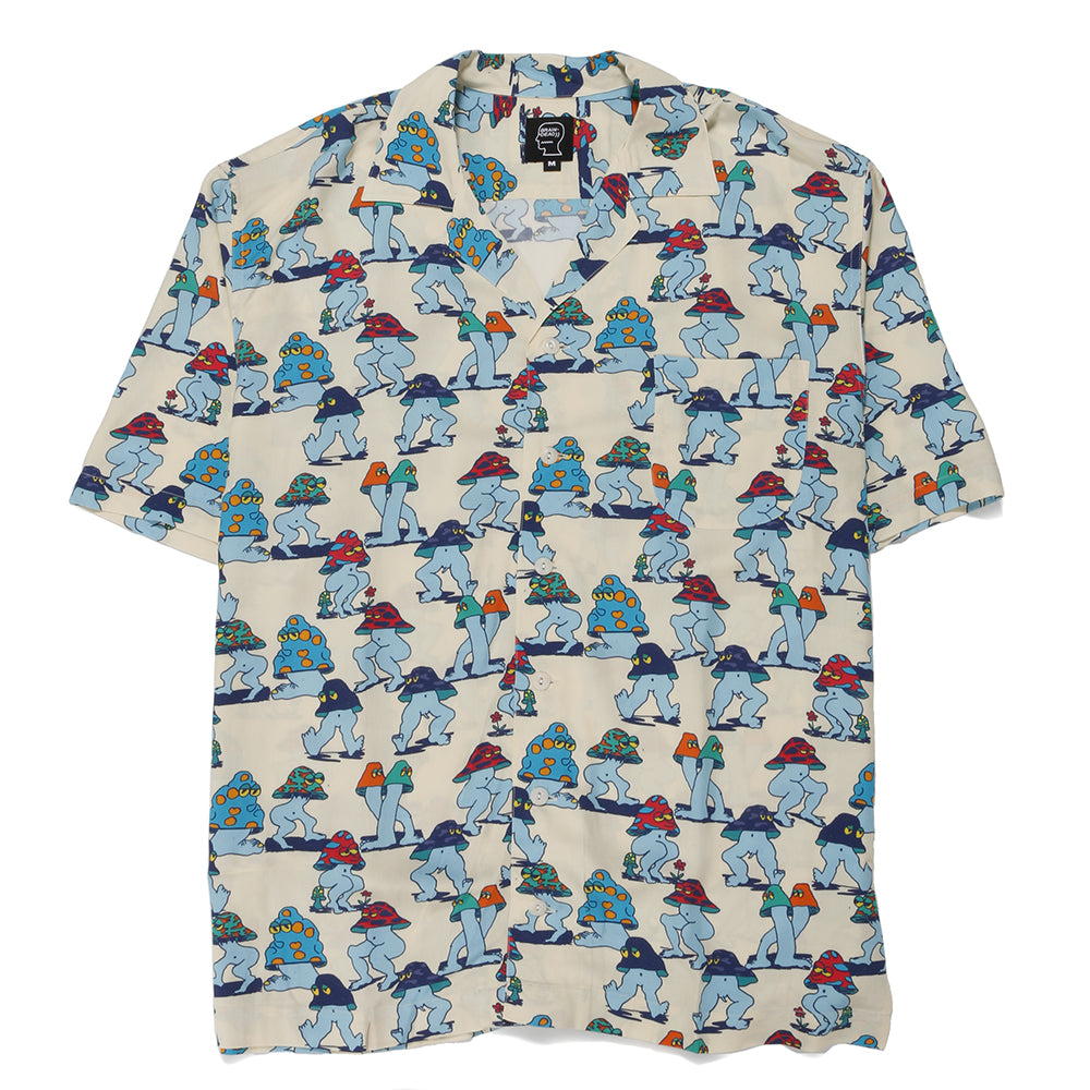 Brain Dead Mushroom Hawaiian Shirt / Natural