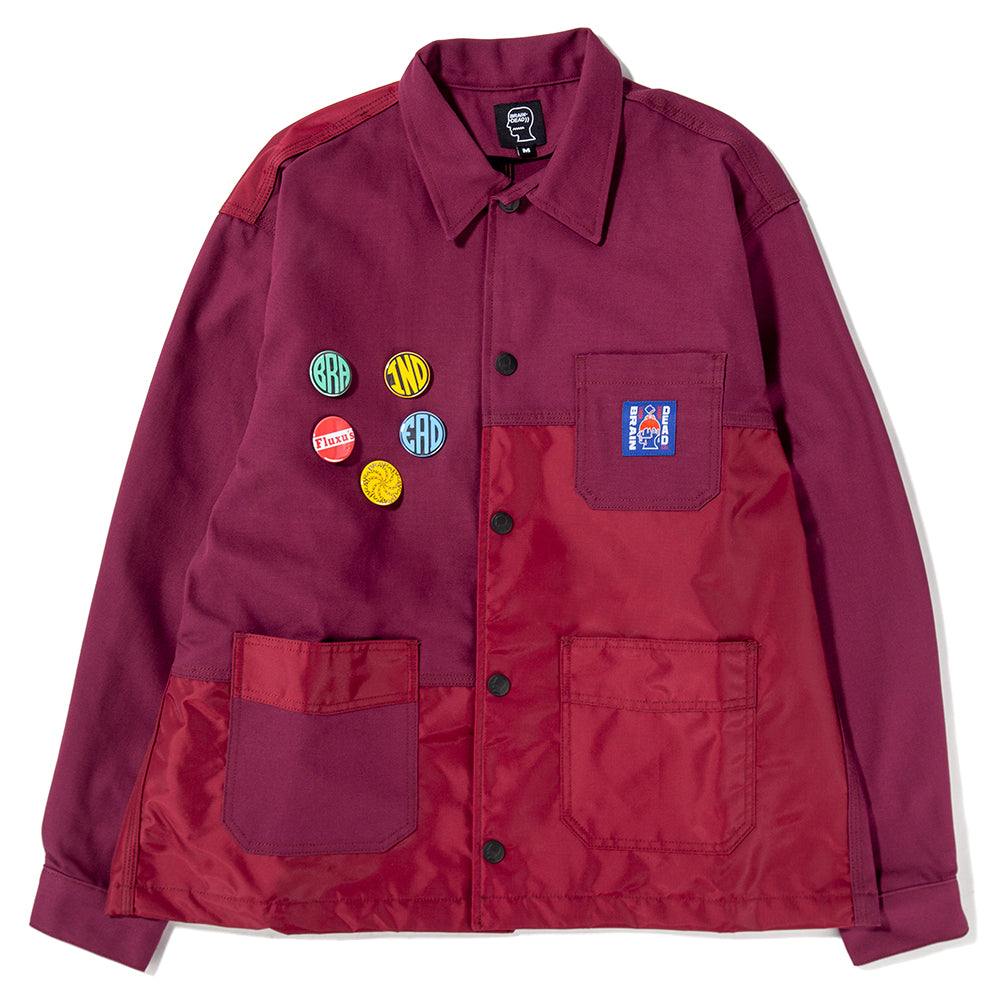 BDSS1901 Brain Dead Paneled Chore Coat / Raspberry