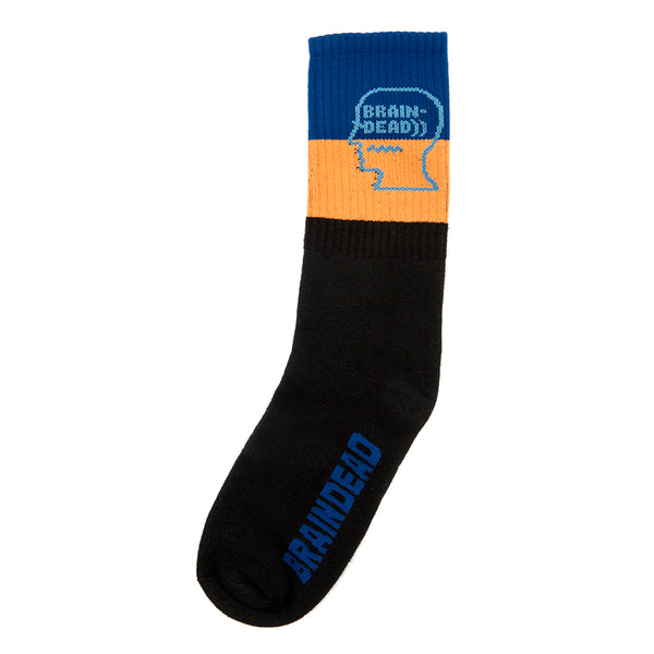 Brain Dead Striped Logo Socks / Blue