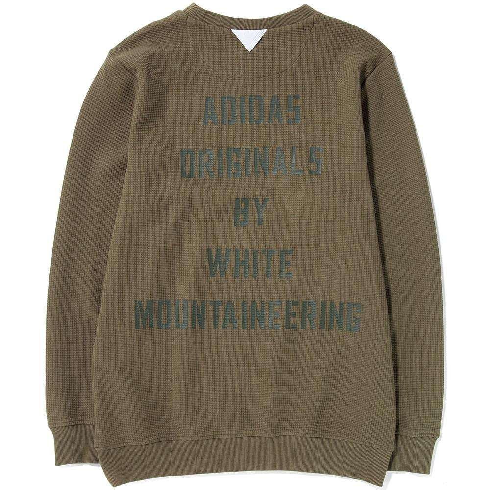 style code BQ4113. ADIDAS ORIGINALS BY WHITE MOUNTAINEERING CREW SWEAT / TRACE OLIVE