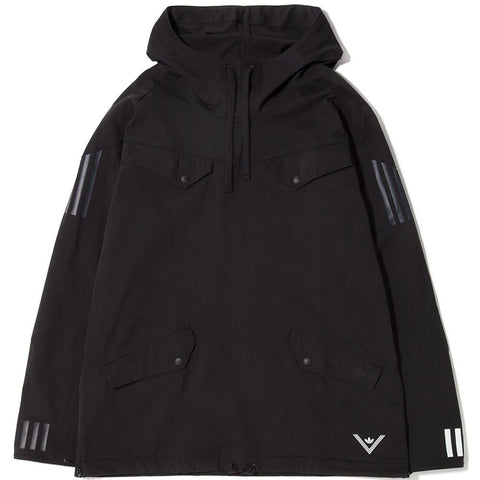 style code BQ4123. ADIDAS ORIGINALS BY WHITE MOUNTAINEERING PULLOVER JACKET / BLACK