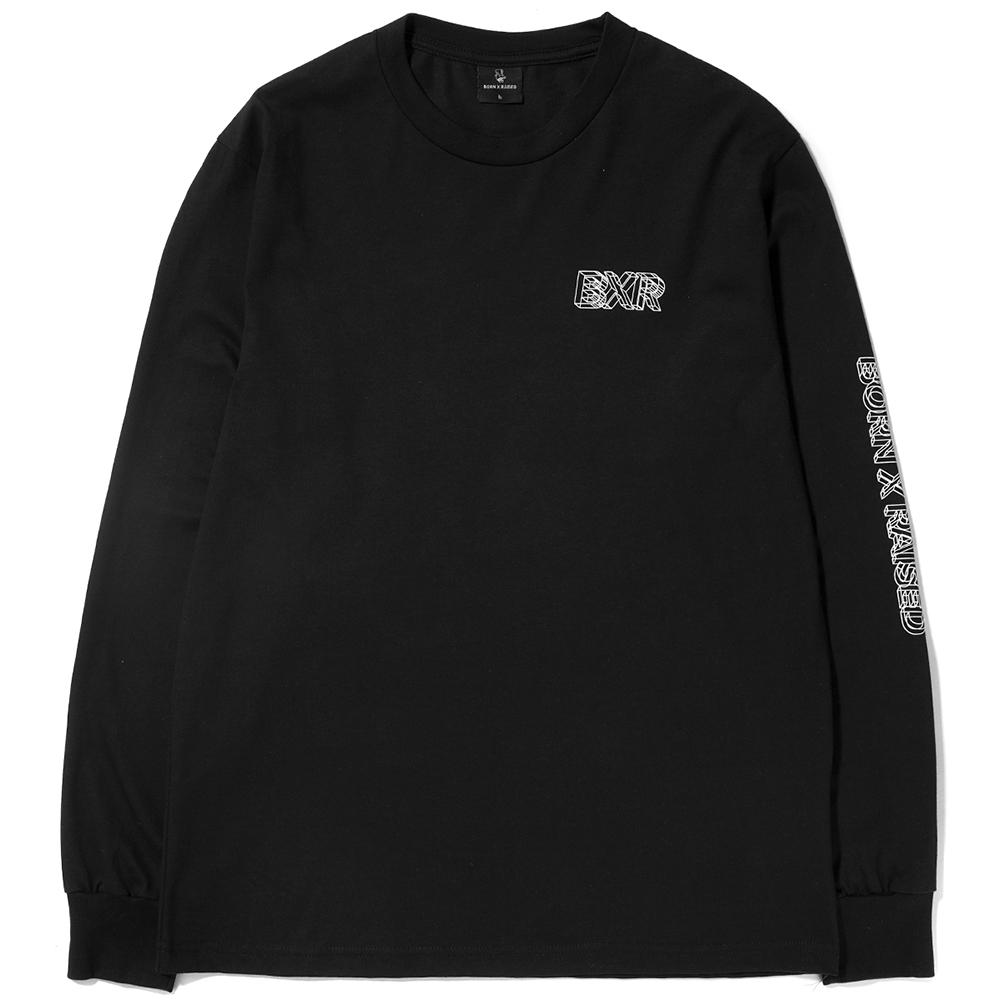 Style code BRHO1704BLK. BORN X RAISED WIRE FRAME LONG SLEEVE T-SHIRT / BLACK