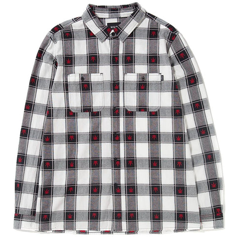 Style code BU00028SP18D1BLK. HUF PLANTLIFE PLAID LONG SLEEVE SHIRT / BLACK