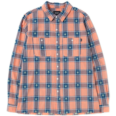 Style code BU00028SP18D1SMO. HUF PLANTLIFE PLAID LONG SLEEVE SHIRT / SMOKE PEACH