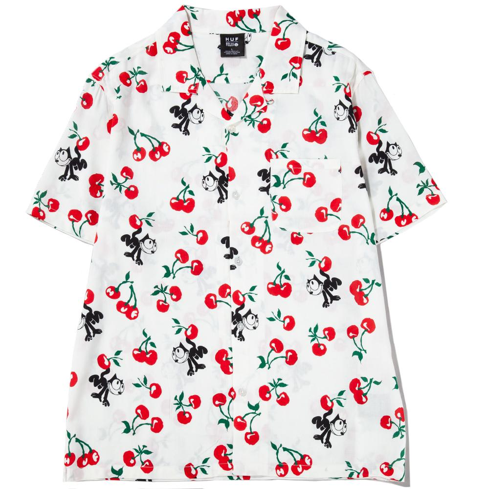 Style code BU00036FELIXNAT.  HUF x Felix the Cat Cherry Woven Shirt / Natural