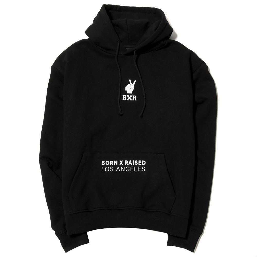 Style code BXRFA17QBLK. BORN X RAISED TRADEMARKS PULLOVER HOODIE / BLACK