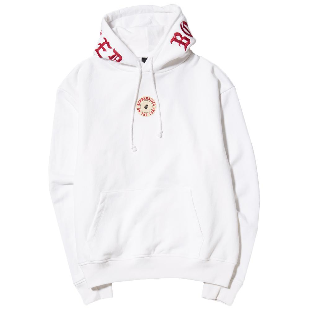 Style code BXRFA17SWHT. BORN X RAISED ON THE TURF PULLOVER HOODIE / WHITE