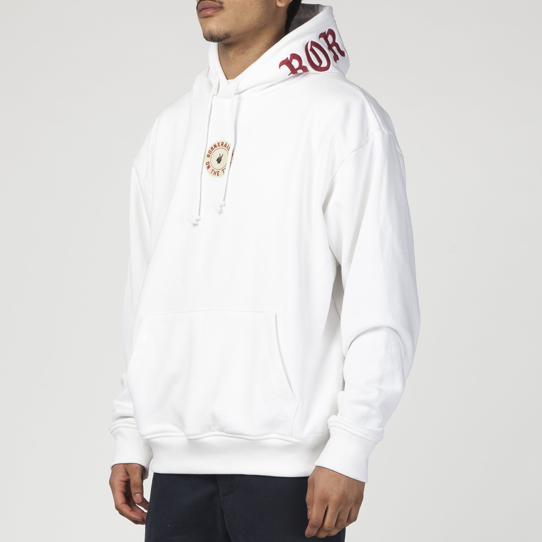 BORN X RAISED ON THE TURF PULLOVER HOODIE / WHITE