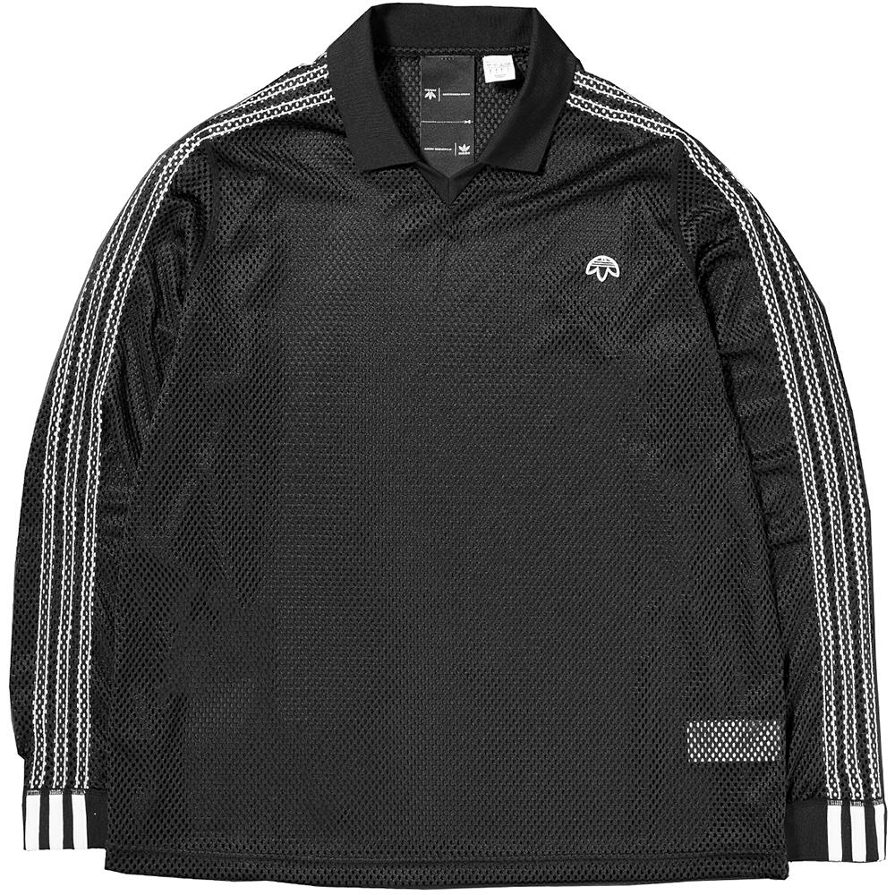 style code CG2005. ADIDAS ORIGINALS BY ALEXANDER WANG MESH LONG SLEEVE POLO / BLACK