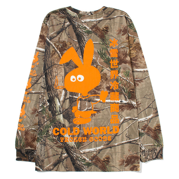 Cold World Frozen Goods Cold Bunny Real Tree Long Sleeve T-shirt / Camo - Deadstock.ca