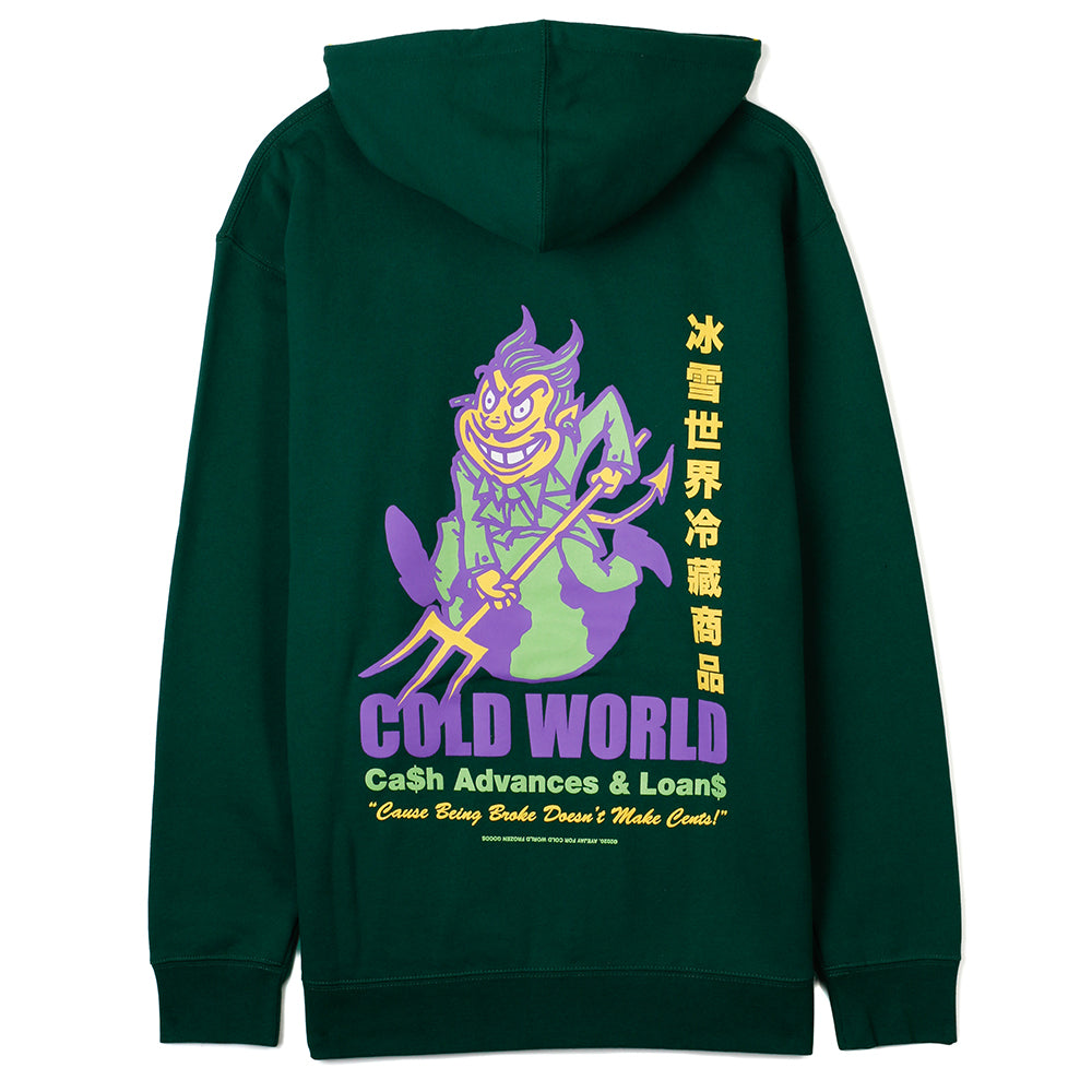 Cold World Frozen Goods Cash Out Pullover Hoodie / Dark Green
