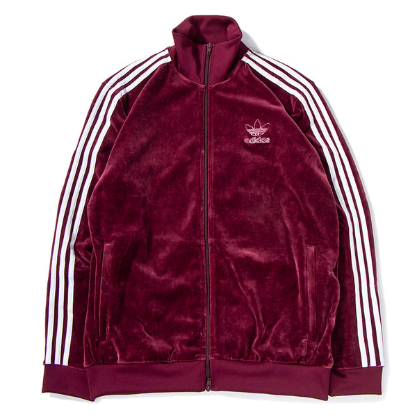 Style code DH5789. adidas Velour Beckenbauer Track Top / Maroon