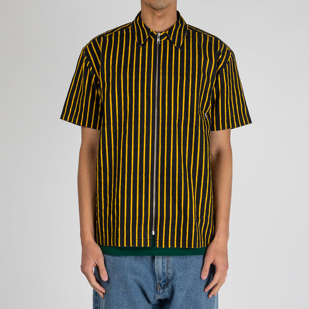 Fucking Awesome Overspray Stripe Shirt Black / Yellow