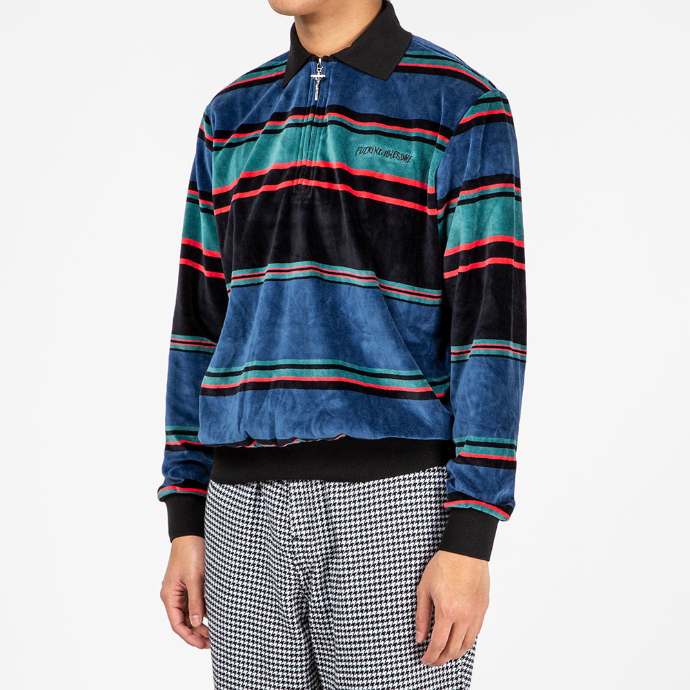 Fucking Awesome Block Stripe Velour 1/4 Zip Shirt / Blue