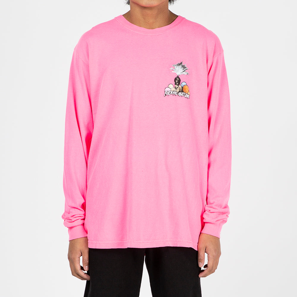 Fucking Awesome Colour Movie Long Sleeve T-shirt / Pigment Dyed Neon Pink