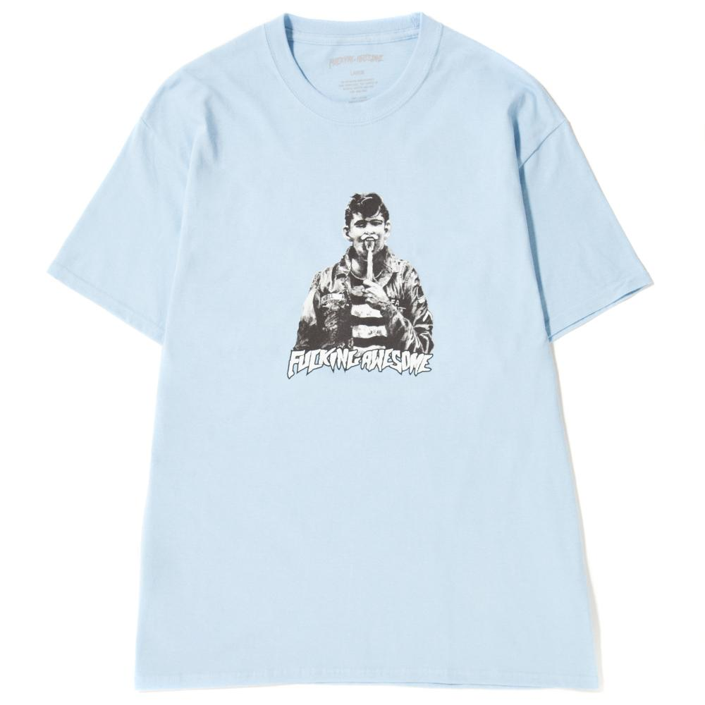 style code FAQ302BLU. FUCKING AWESOME KNIFE TONGUE T-SHIRT / LIGHT BLUE