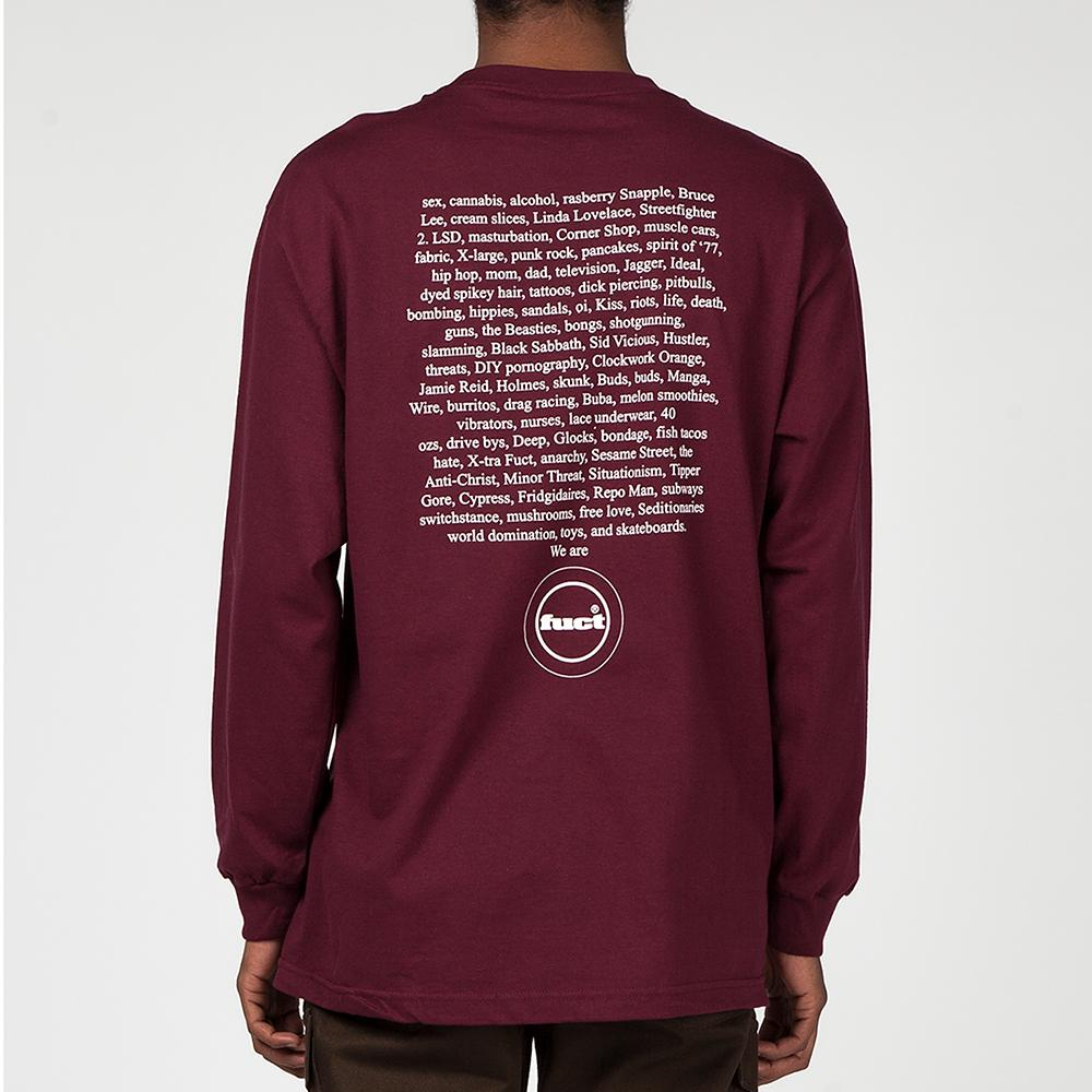 FUCT SSDD FUCT ADVERTISEMENT 1991 LONG SLEEVE T-SHIRT / BURGUNDY