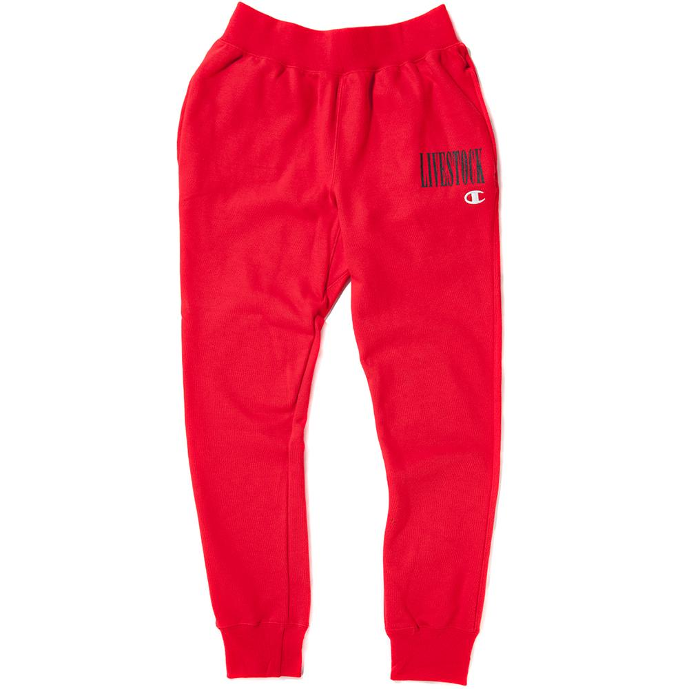 Style code GF01Y061462WC. CHAMPION LIVESTOCK REVERSE WEAVE JOGGER / RED SCARLET