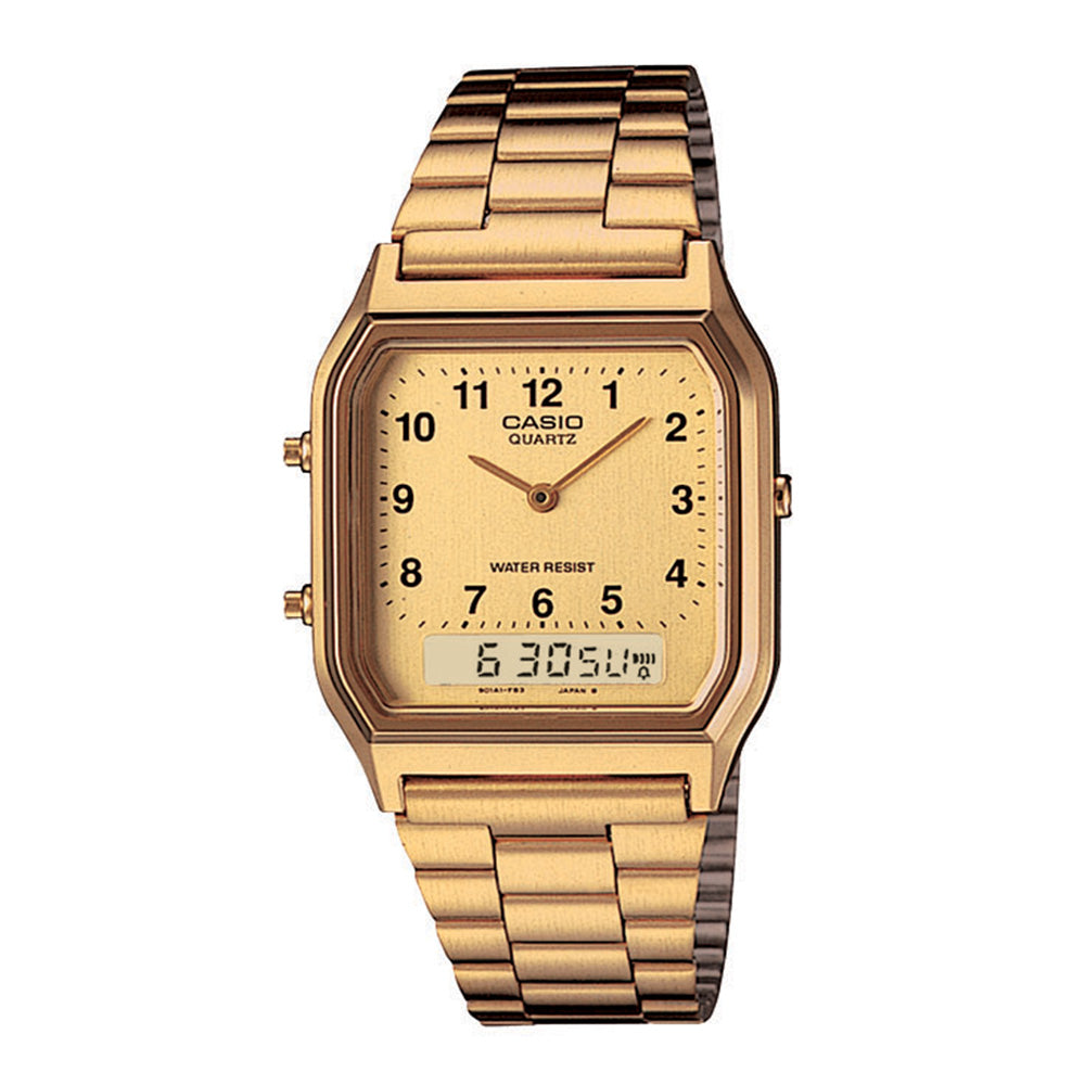Style code GSAQ230GA9BVT. Casio Vintage Digital Analog Watch / Gold
