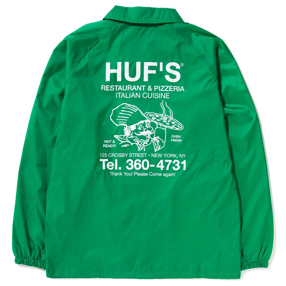 Style code HUFJK00053HO17GRN. HUF HUFS PIZZA COACHES JACKET / GREEN