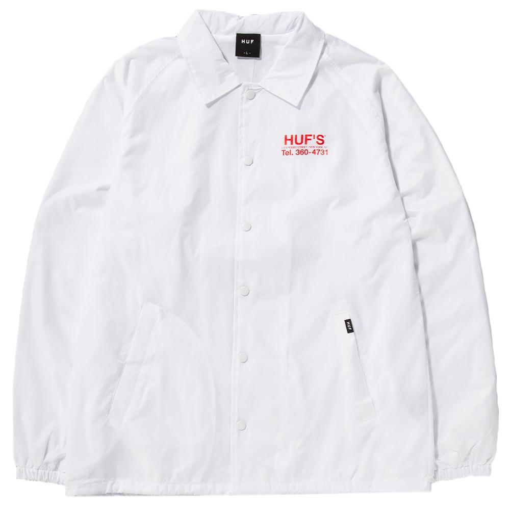 Style code HUFJK00053HO17WHT. HUF HUFS PIZZA COACHES JACKET / WHITE