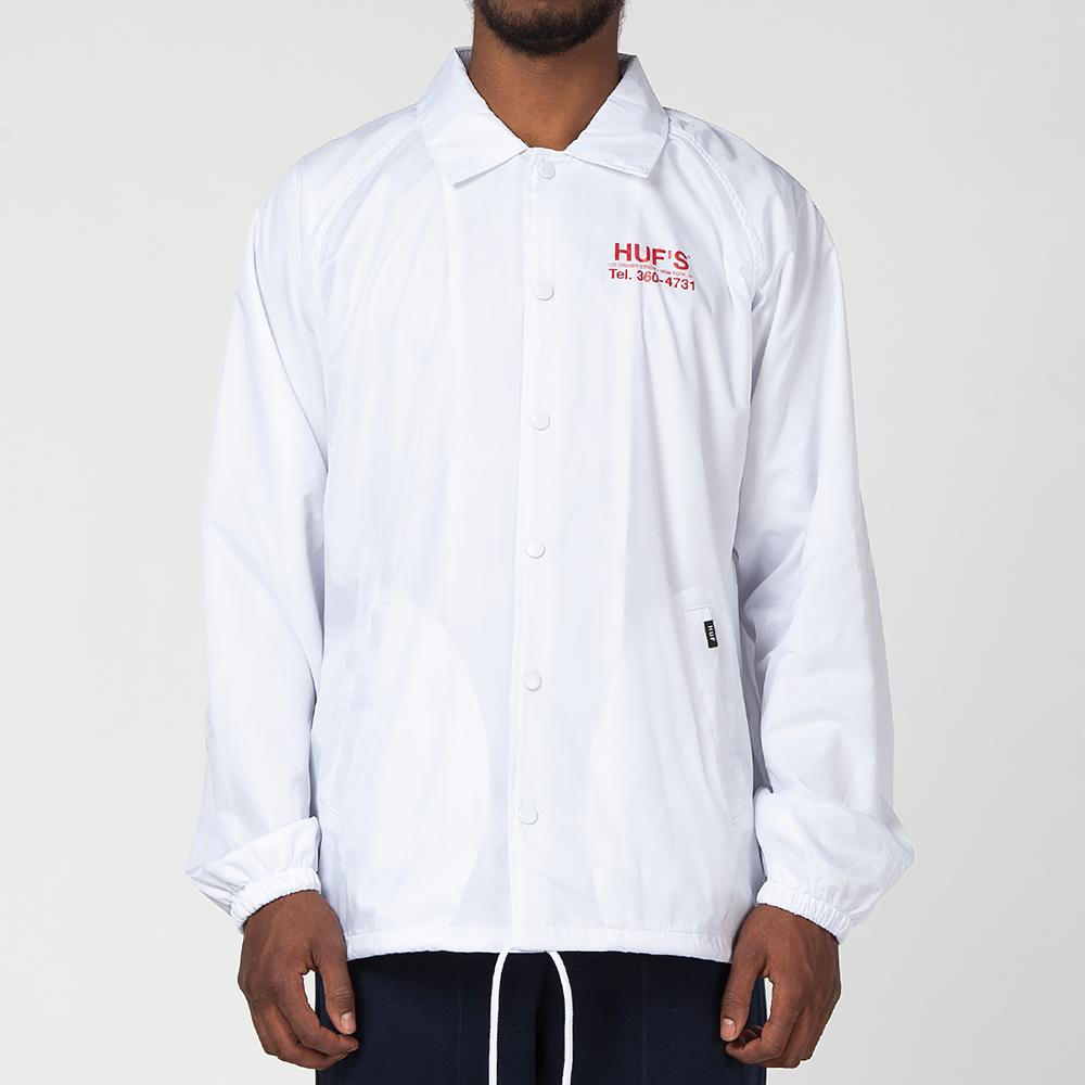 HUF HUFS PIZZA COACHES JACKET / WHITE
