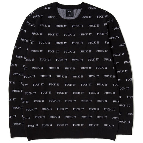 Style code HUFKN00036HO17BLK. HUF FUCK IT JACQUARD SWEATER / BLACK