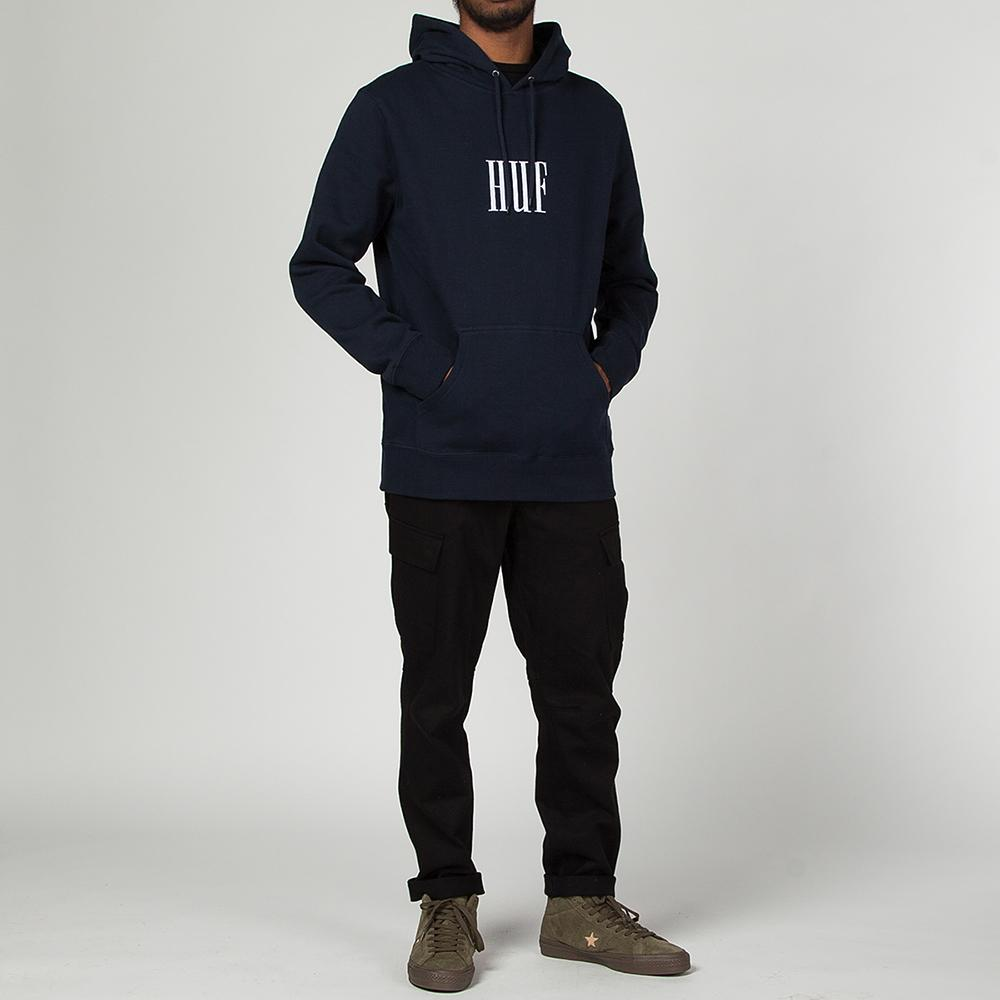 Style code HUFPF00034HO17NVY. HUF MARKA PULLOVER FLEECE HOODIE / NAVY